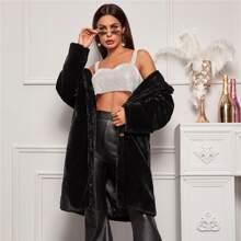 Lapel Collar Faux Fur Coat