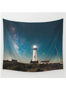 Universal Galaxy Stars and Guiding Light Buildings Pattern Decorative Hanging Wall Tapestry