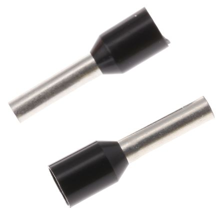 TE Connectivity Insulated Crimp Bootlace Ferrule, 8mm Pin Length, 1.7mm Pin Diameter, 1.5mm² Wire Size, Black (500)