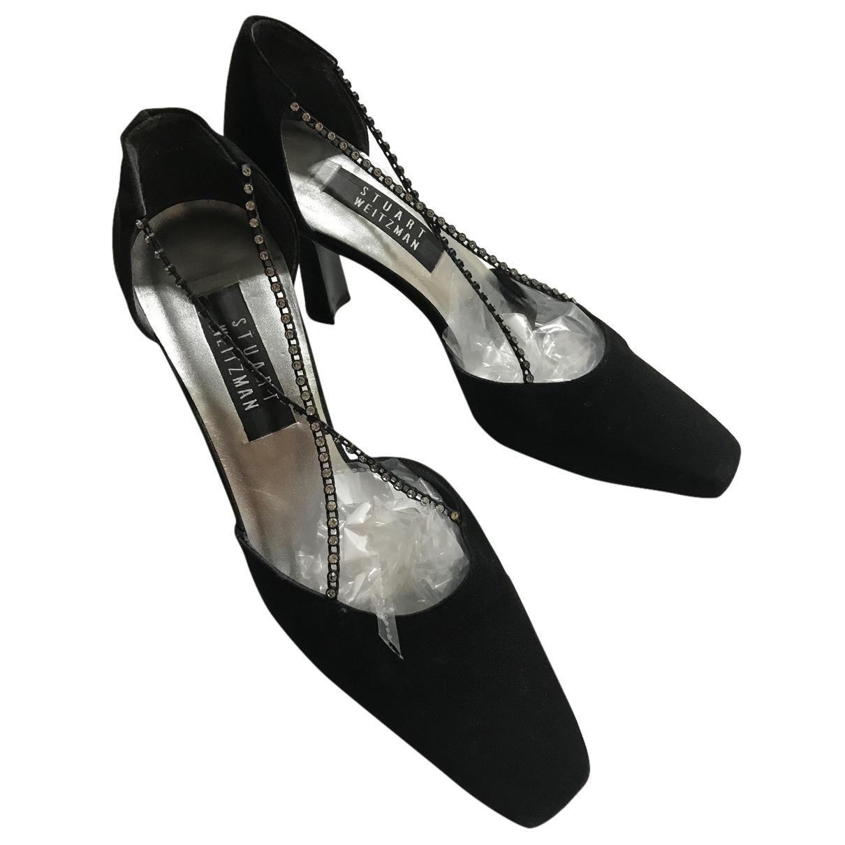Stuart Weitzman N Black Cloth Heels for Women 6 UK