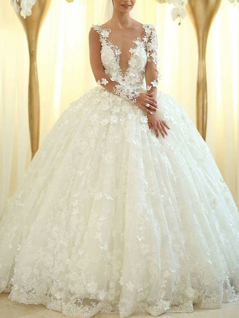 Ericdress Long Sleeves Flowers Appliques Ball Gown Wedding Dress