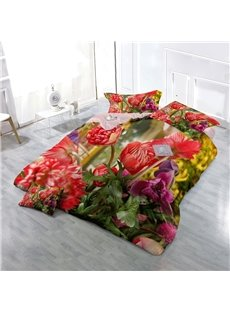 Blooming Peonies Wear-resistant Breathable High Quality 60s Cotton 4-Piece 3D Bedding Sets