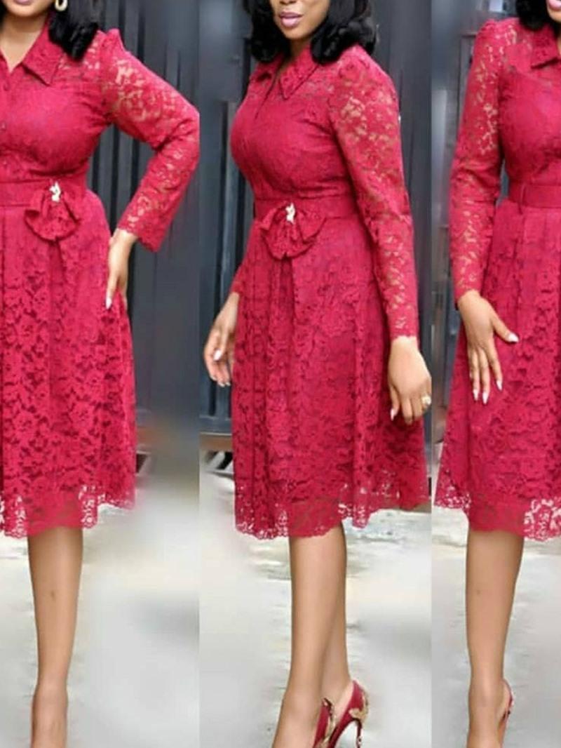 Ericdress Plus Size Lace OL Lapel Hollow Bow Mid Waist Dress