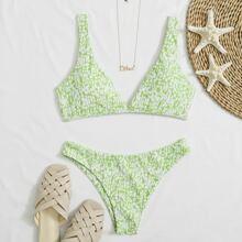 Allover Print Tie Back Bikini Swimsuit