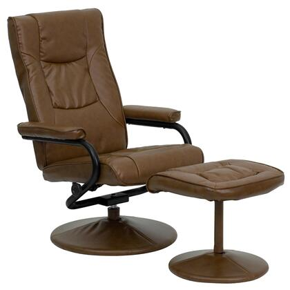 BT-7862-PALIMINO-GG Multi-Position Recliner and Ottoman with Swivel Seat  Plush Arms  Wrapped Pedestal Base  Integrated Headrest and LeatherSoft