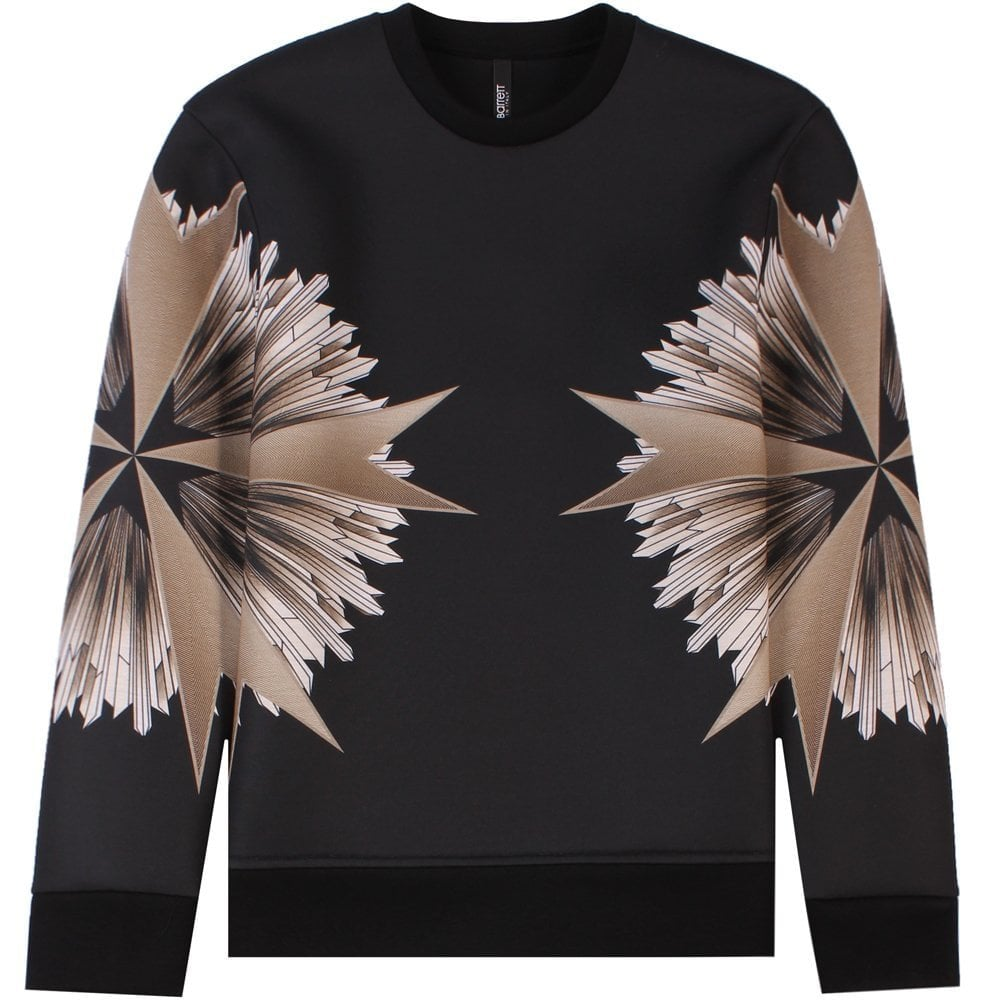 Neil Barrett Military Star Sweatshirt Black  Colour: BLACK, Size: LARGE
