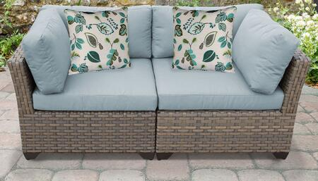 Monterey Collection MONTEREY-02a-SPA 2-Piece Patio Wicker Loveseat with 2x Corner Chairs - Beige and Spa