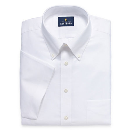 Stafford Travel Wrinkle Free Stretch Oxford Short Sleeve Button Down Collar Big And Tall Mens Dress Shirt, 20 , White