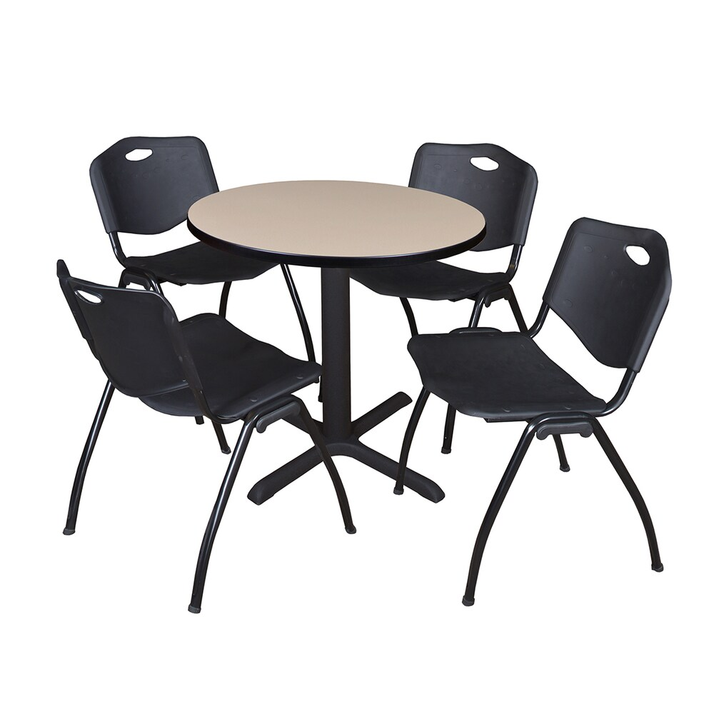 30-inch Round Table and 4 'M' Stackable Black Chairs (Beige)