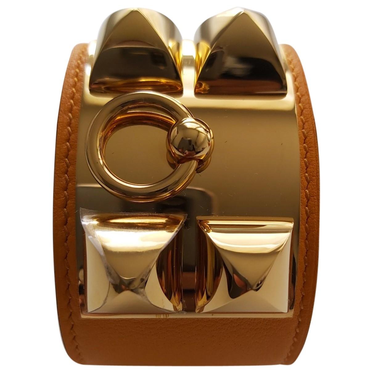 Hermes Collier de chien  Armband in  Orange Leder
