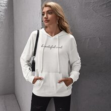 Drop Shoulder Letter Graphic Drawstring Hoodie