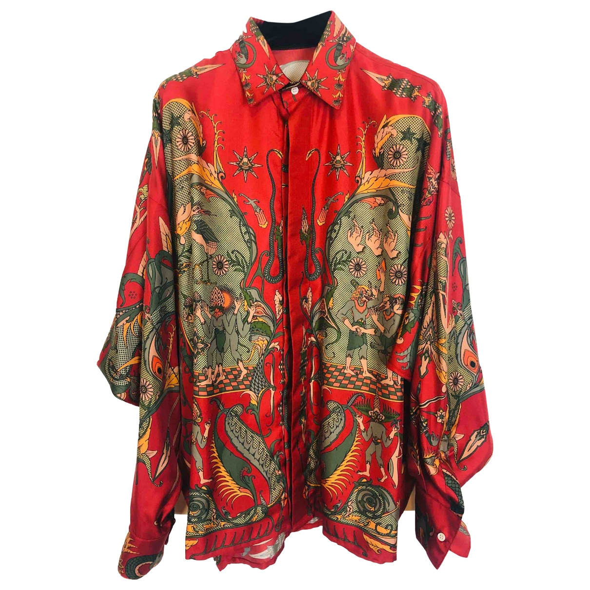 Non Signé / Unsigned Oversize Red Silk Shirts for Men M International