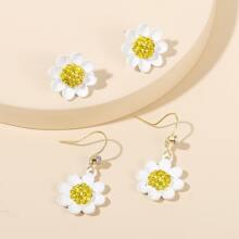 2pairs Flower Decor Earrings