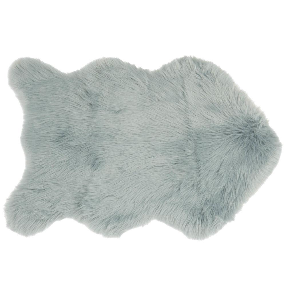 Fellimitat-Teppich blau-grau 60x90