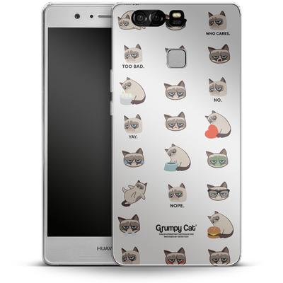 Huawei P9 Silikon Handyhuelle - Grumpy Cat Pattern von Grumpy Cat