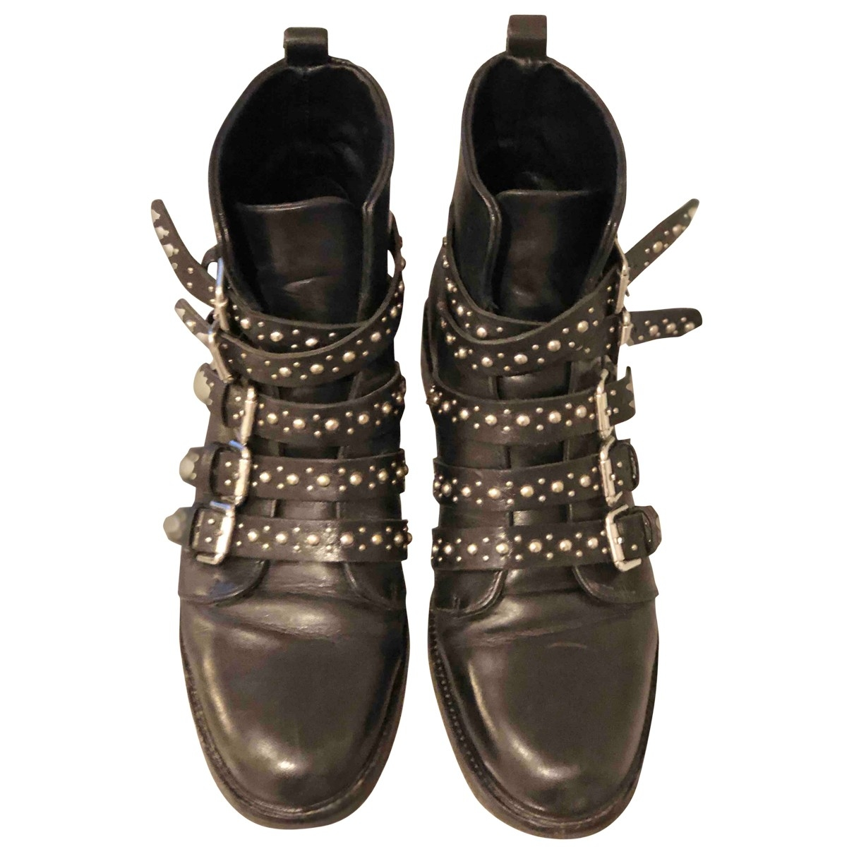 Sandro - Bottes   pour femme en cuir - noir
