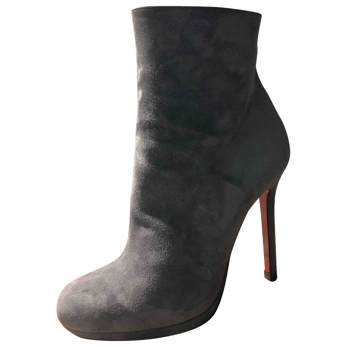 Christian Louboutin \N Grey Suede Ankle boots for Women 36 EU