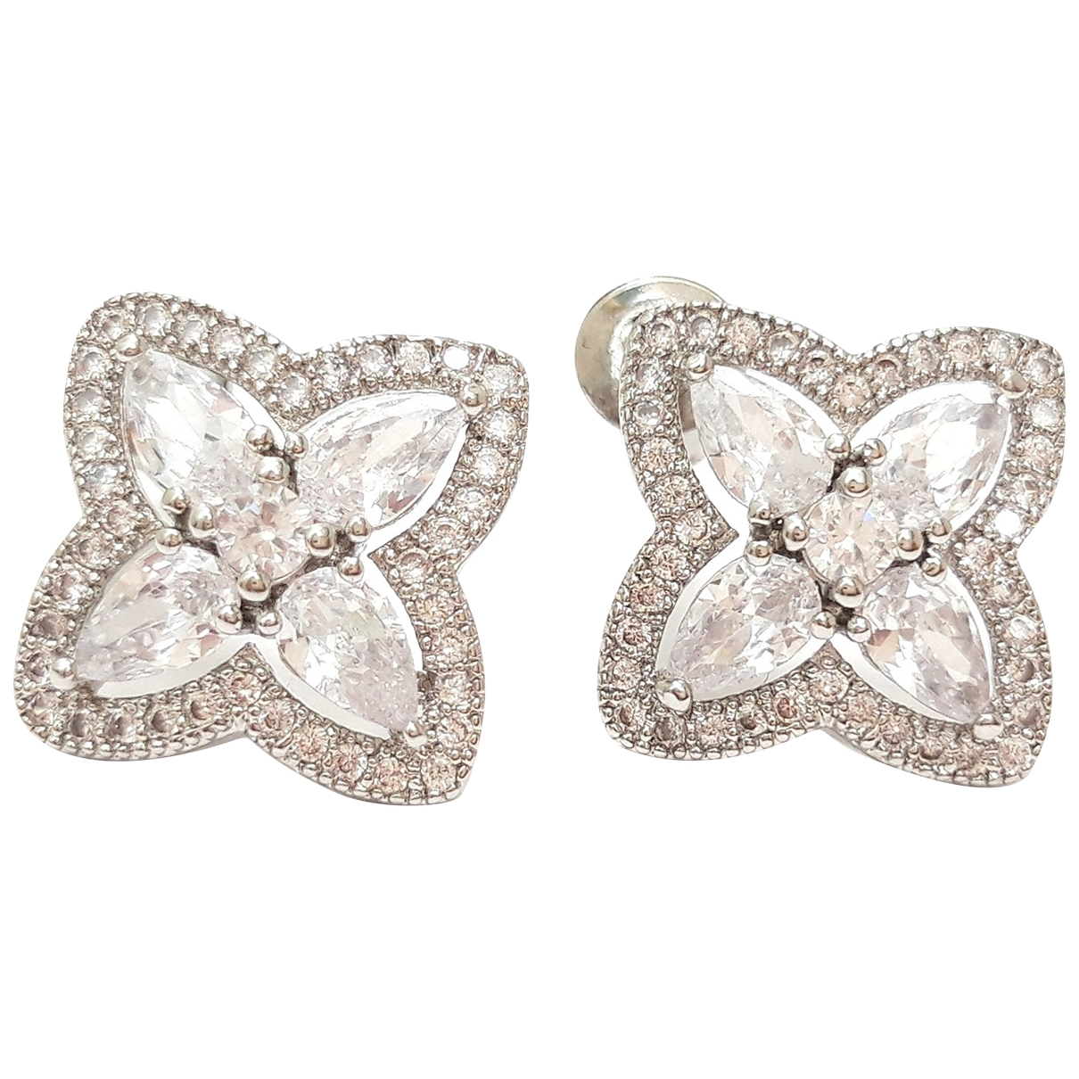 Non Signé / Unsigned Motifs Floraux Silver Crystal Earrings for Women \N