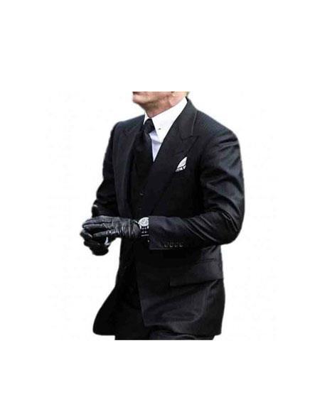 Men's James Bond Single Breasted 2 Button Peak Lapel Black Suit