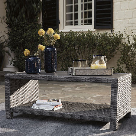 Signature Design by Ashley Salem Beach Patio Coffee Table, One Size , Gray