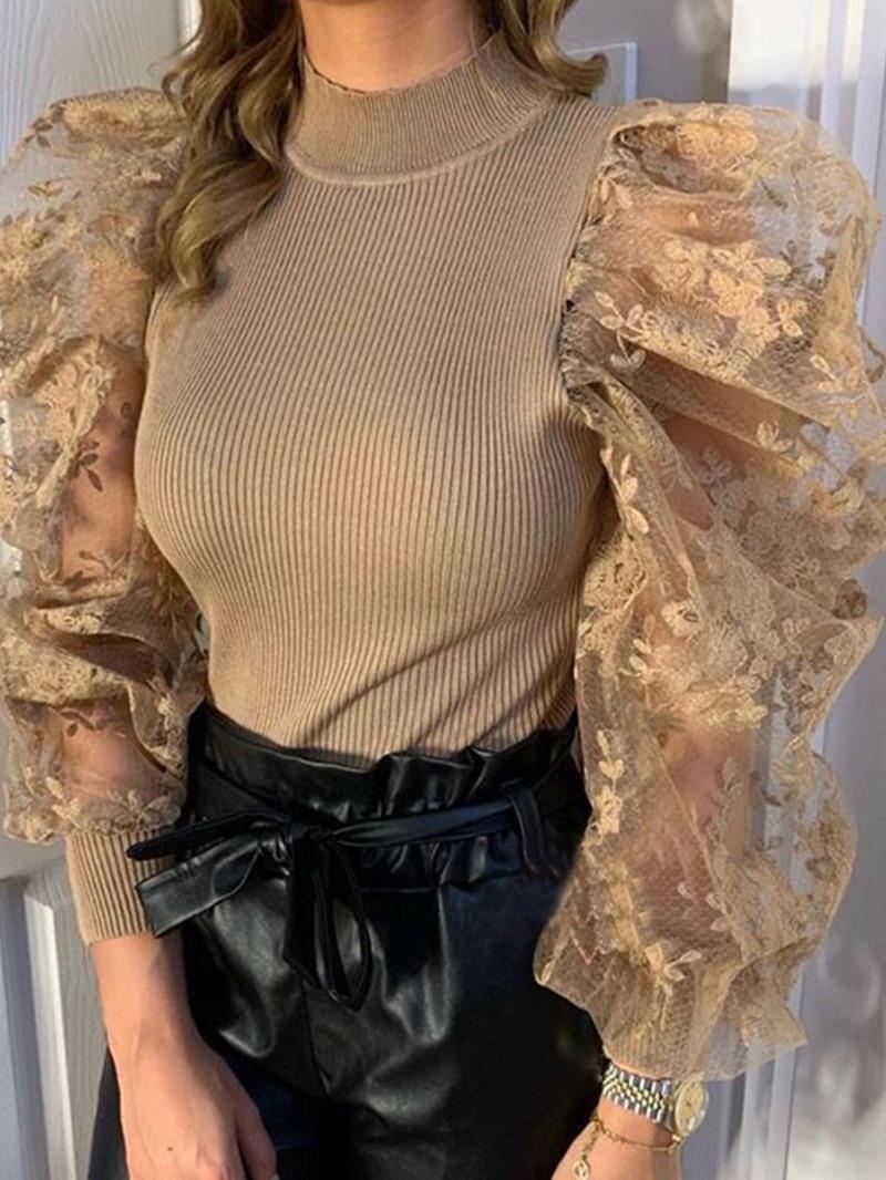Ericdress Regular Lace Puff Sleeve Long Sleeve Round Neck Sweater