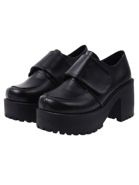 Milanoo Gotico Negro Lolita Zapatos Tacones Cuadrados Plataforma Zapatos