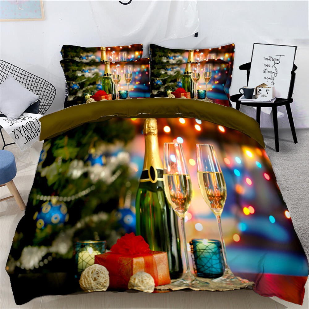 Champagne and Presents Celebrate Christmas 3D 4-Piece Bedding Sets/Duvet Covers