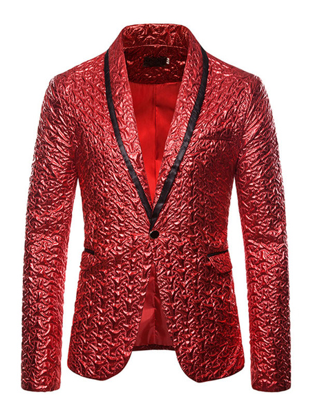 Milanoo Blazers Jackets Men Gold Stamping Casual Suits For Men