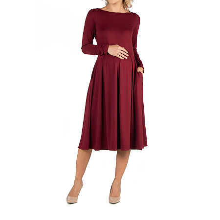 24/7 Comfort Apparel Midi Length Fit and Flare Pocket Dress, Small , Red
