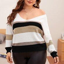 Pullover mit Streifen, V-Kragen und sehr tief angesetzter Schulterpartie
