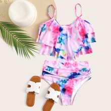 Tie Dye Ruffle Bikini-Badeanzug mit hoher Taille