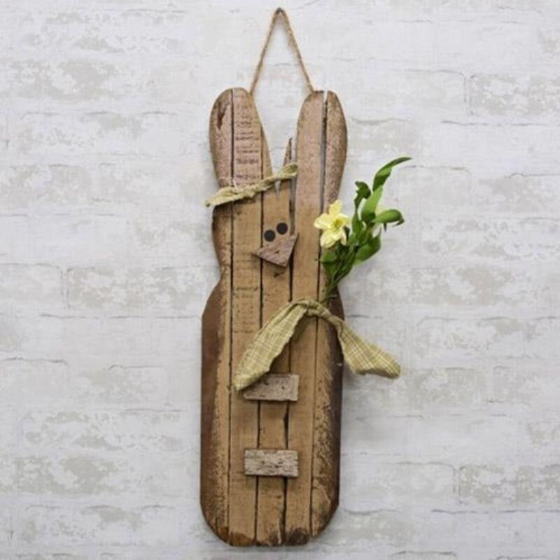 Hanging Antiqued Lath Bunny 24