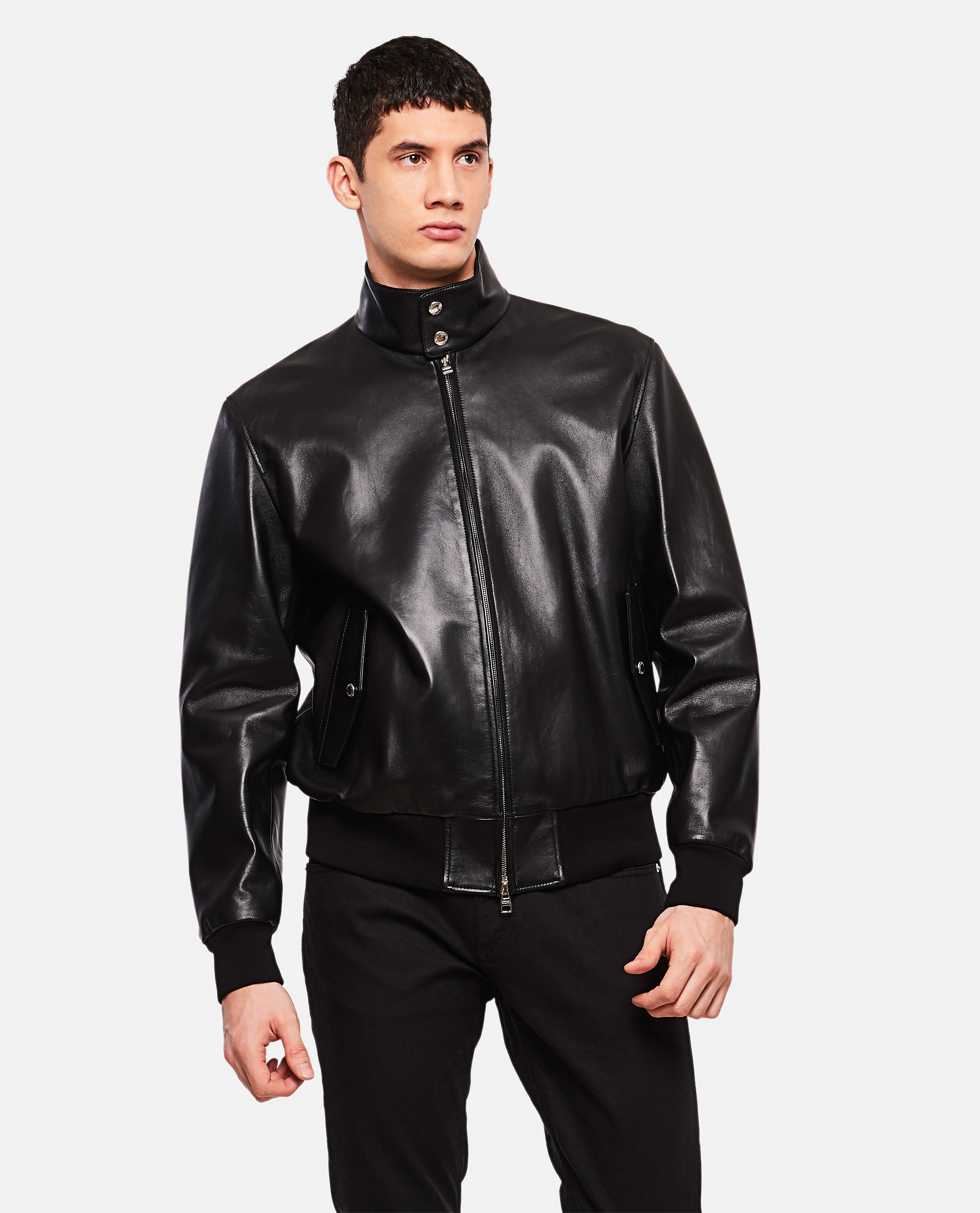 Jacket with zip with raised collar
