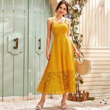 Contrast Lace Hem Cami Dress
