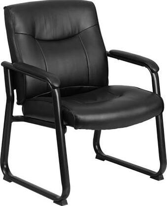 HERCULES Series Big & Tall 500 lb. Capacity Black Leather Executive Side Chair with Sled Base