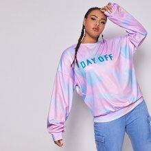 Plus Slogan Graphic Tie Dye Oversized Sweatshirt