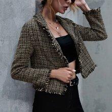 Raw Hem Crop Tweed Jackets