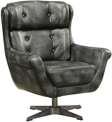Asotin Collection 59532 32 Accent Chair with Swivel Seat  Wood Frame  High Backrest  Rolled Armrest  4-Star Shaped Metal Base and Top Grain Leather