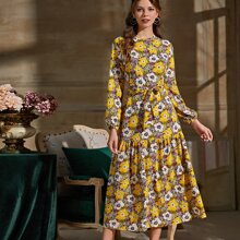 Allover Floral Print Belted Ruffle Hem Dress