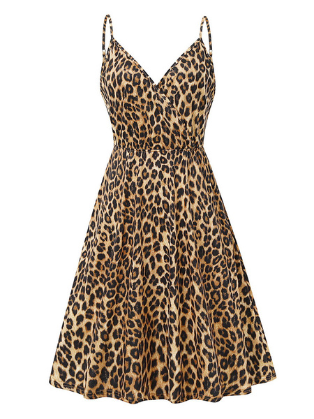 Milanoo Vestidos de patinadora para mujer, estampado de leopardo, poliester, correas, cuello, leopardo, retro, sin mangas, vestido acampanado