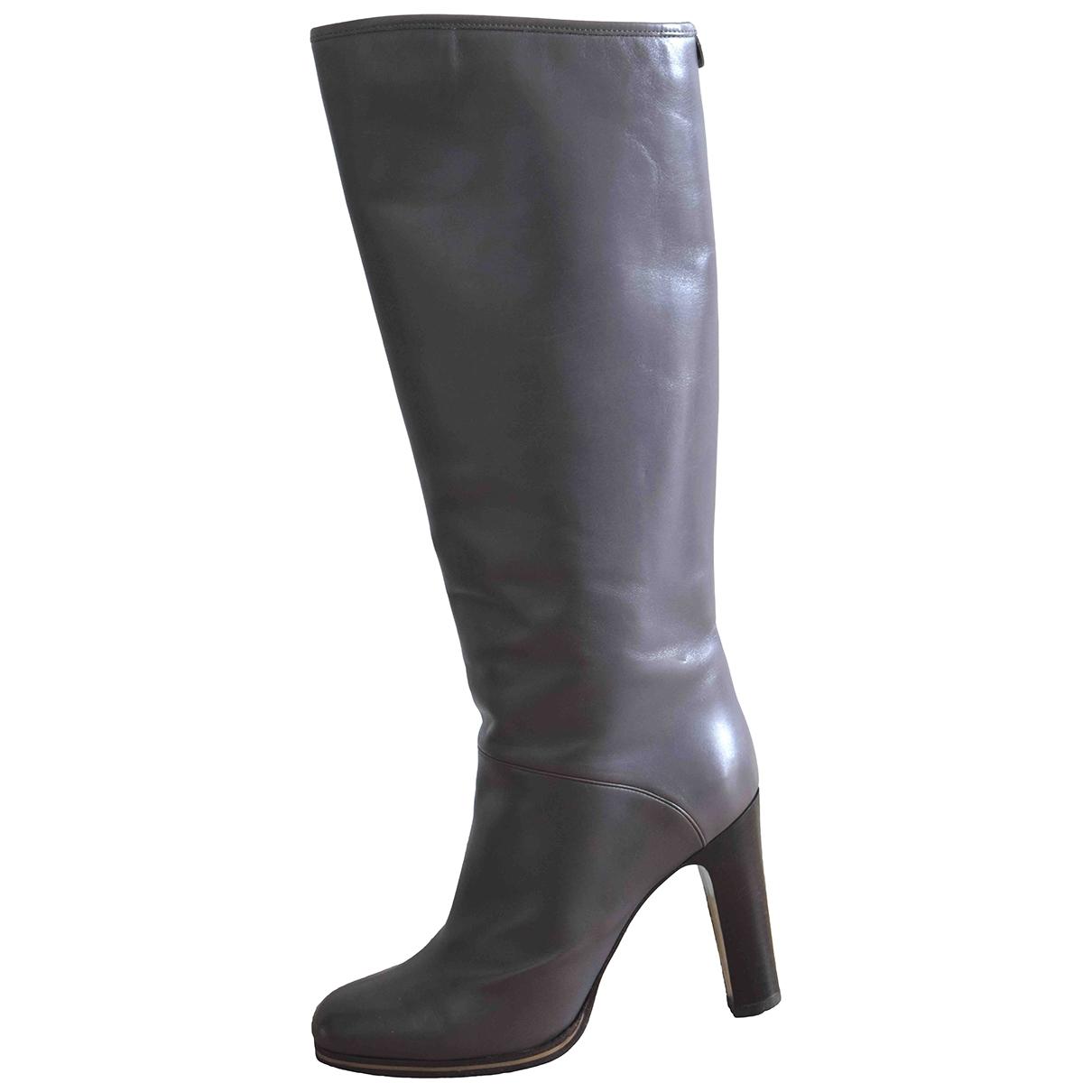Giorgio Armani - Bottes   pour femme en cuir - gris