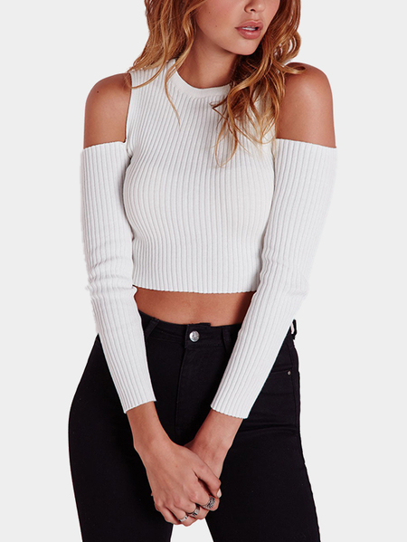 Yoins Fashion White Thread Knitted Cold Shoulder Crop Shirt