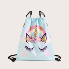 Unicorn Print Drawstring Backpack