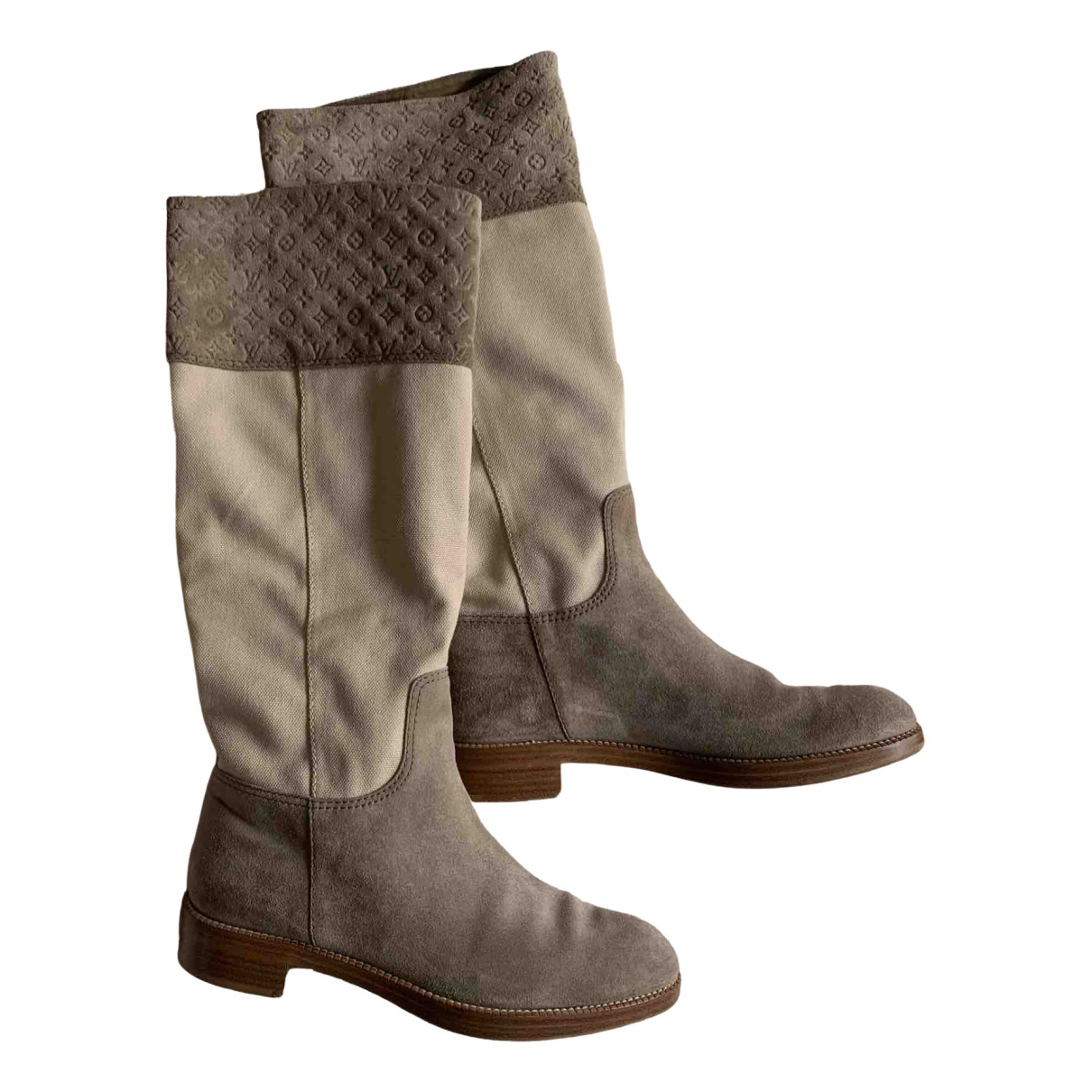 Louis Vuitton \N Stiefel in  Beige Veloursleder