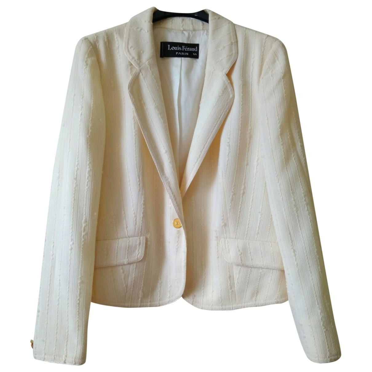 Louis Feraud \N White Wool jacket for Women 44 FR