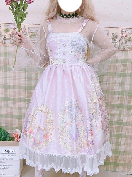 Milanoo Sweet Lolita JSK Dress Printed Pleated Lace Lilac Lolita Jumper Skirts