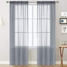 1 pieza cortina transparente unicolor