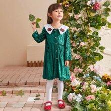 Toddler Girls Velvet Floral Embroidery Sailor Collar Dress