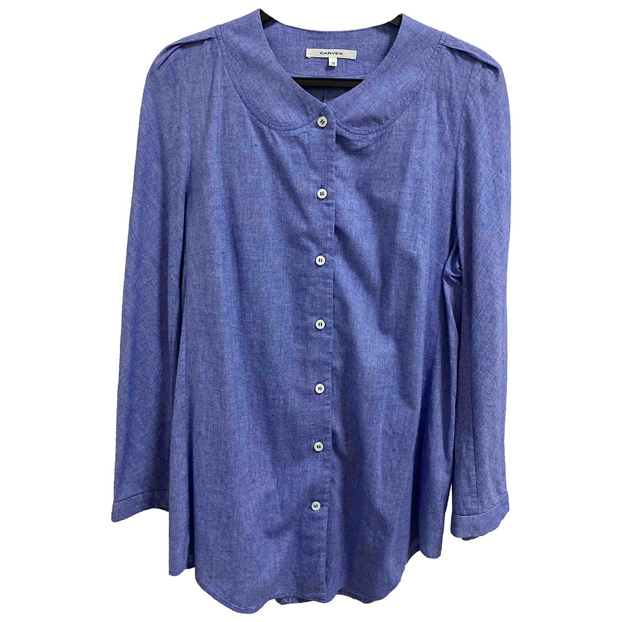 Carven - Top   pour femme en coton - bleu