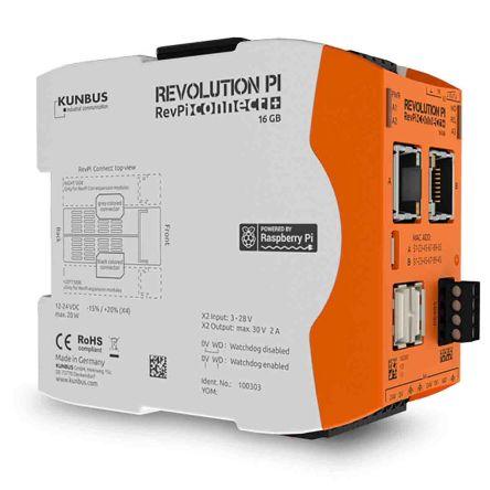 Kunbus RevPi Connect+, Industrial Computer, 20W, 1.2 GHz Quad-Core, BCM2837 1.2 GHz, 1 GB (RAM), 16 GB (Flash), 4 Linux